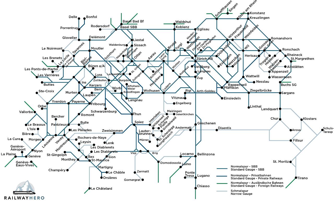 Switzerland rail map