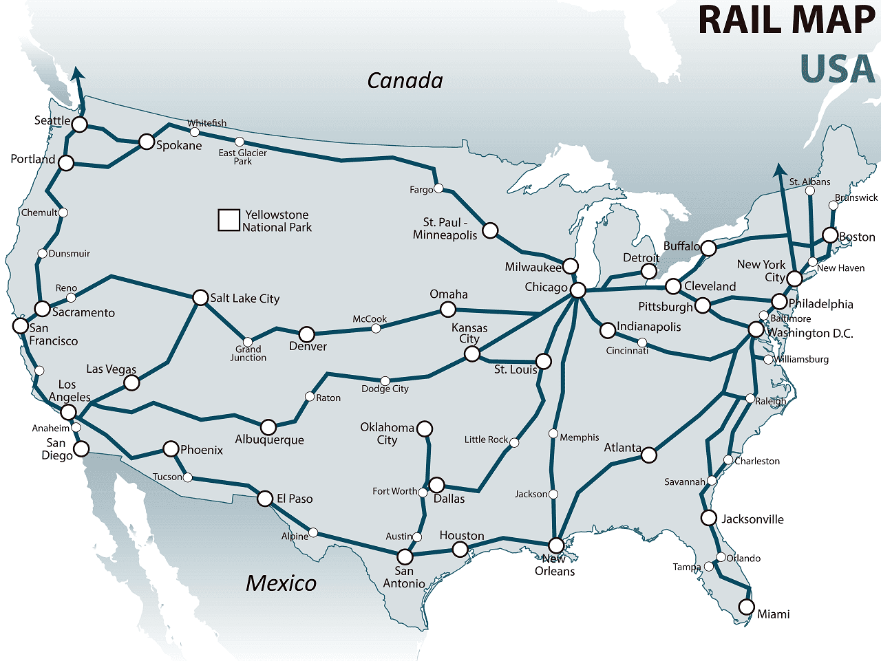 USA rail map