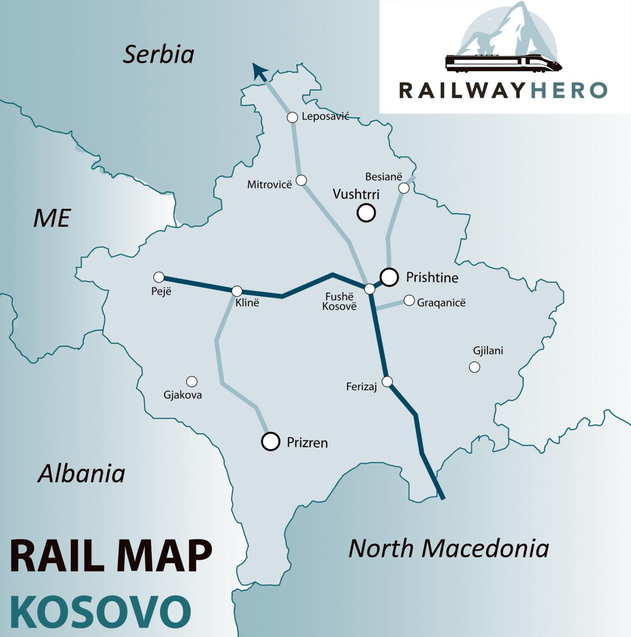 Kosovo rail map