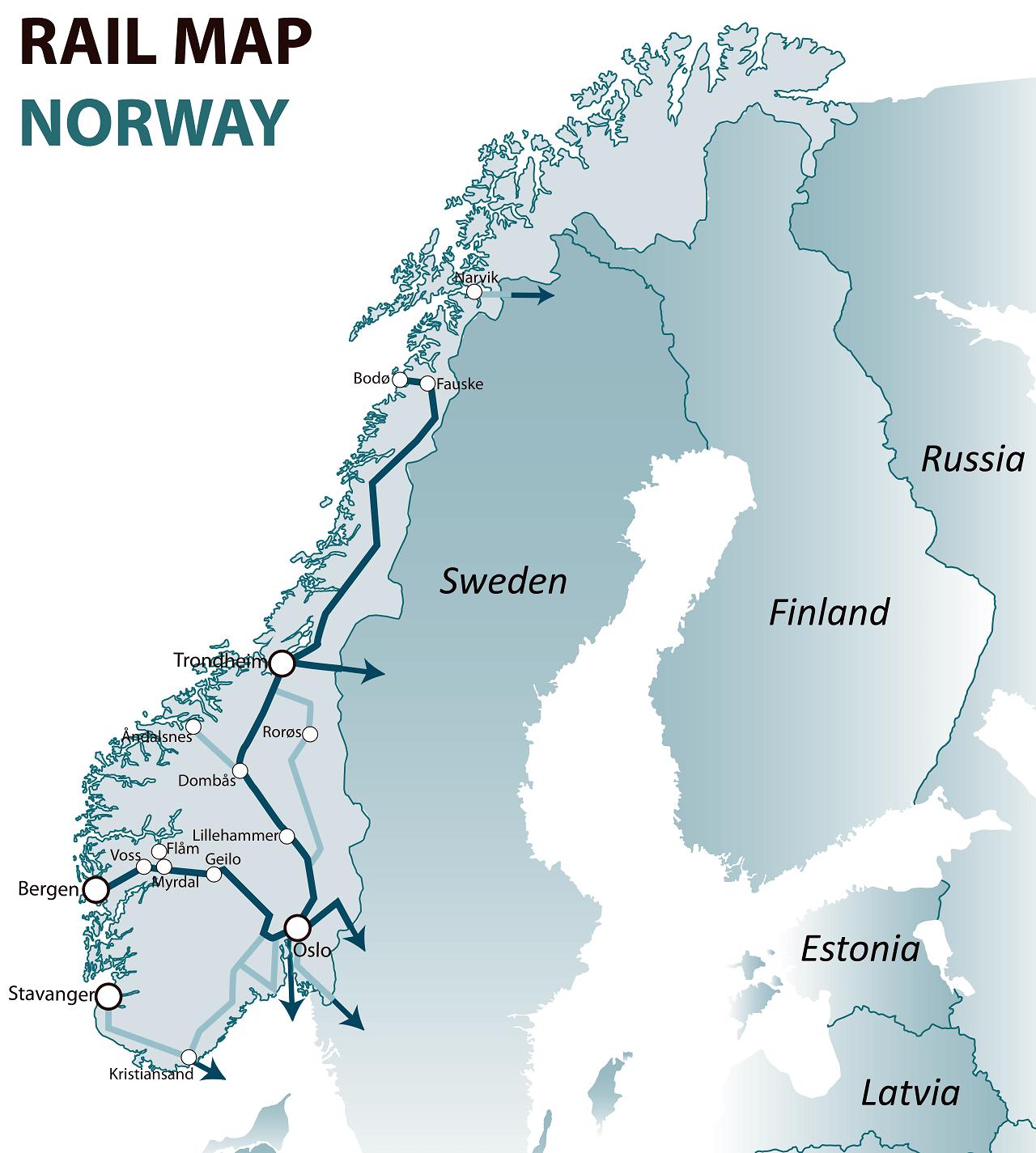 Noway rail map