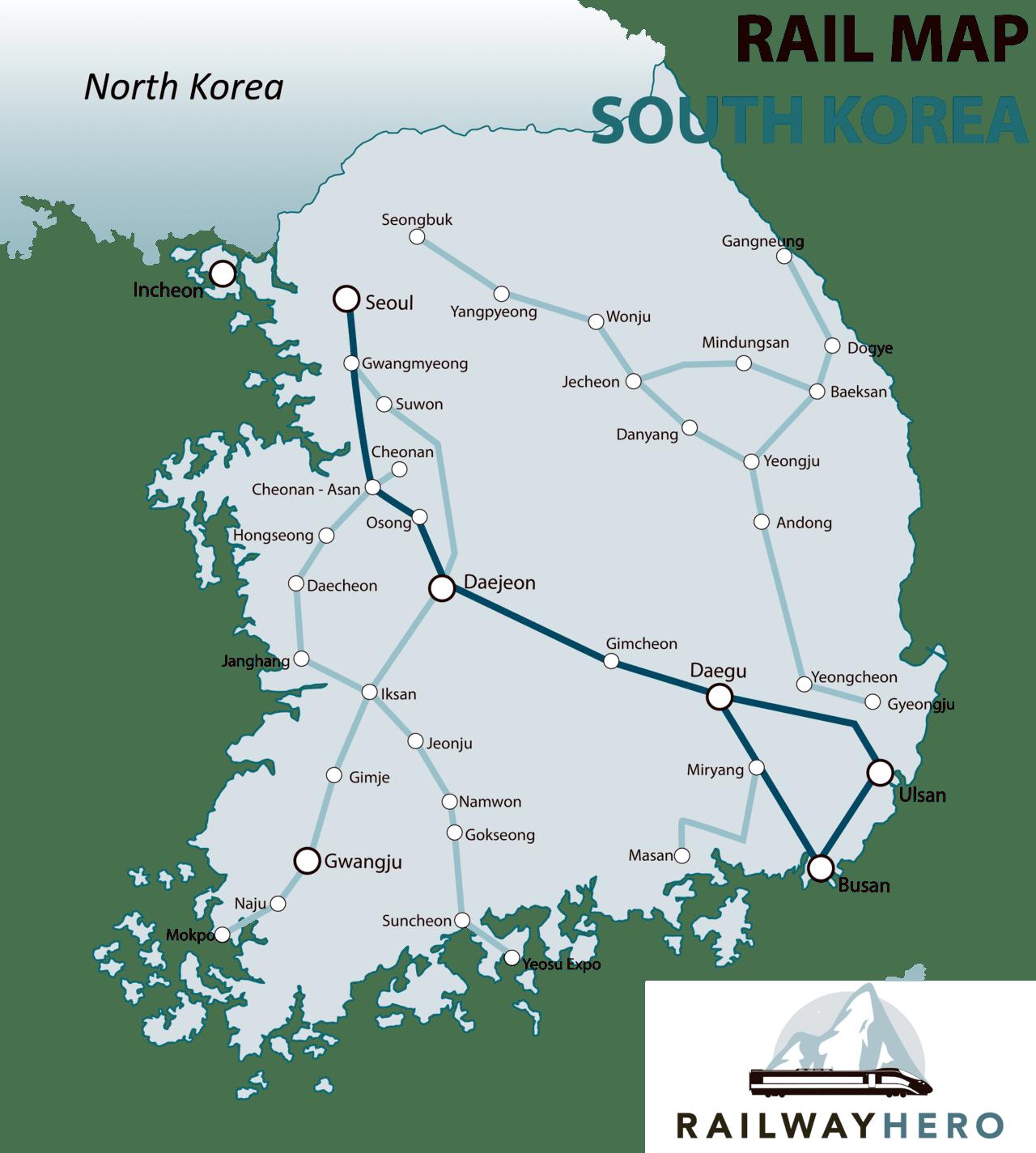 south korea rail map
