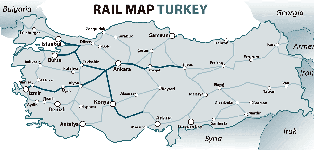 Turkey rail map