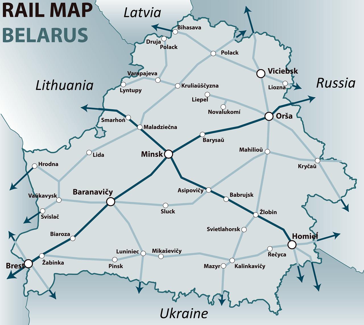 belarus rail map