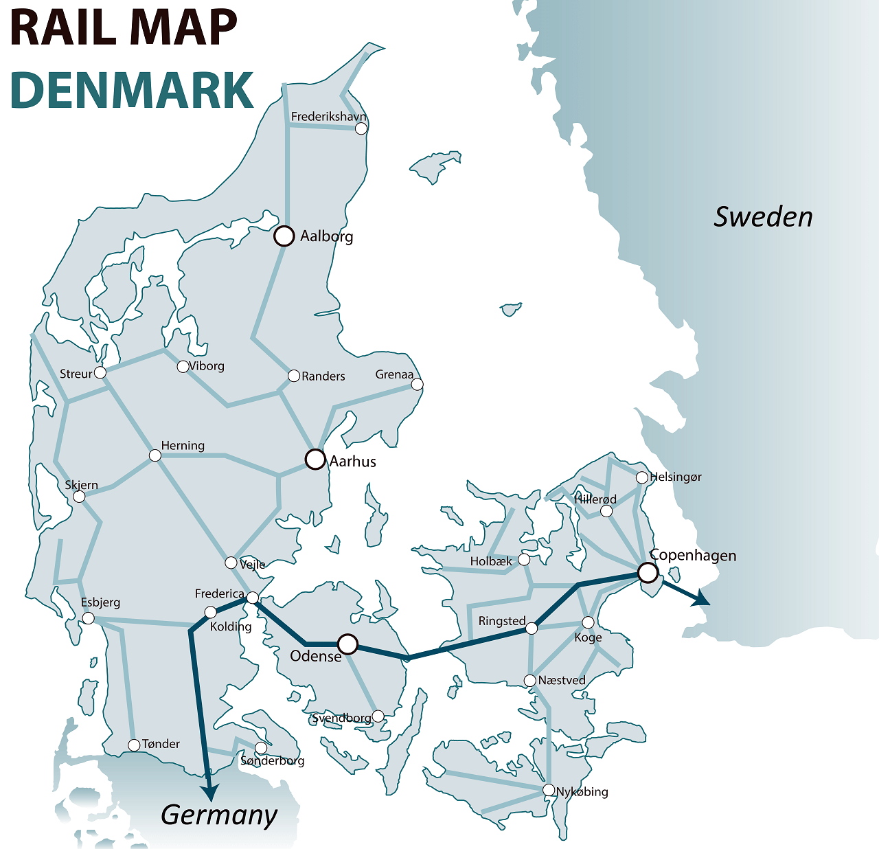 Denmark rail map