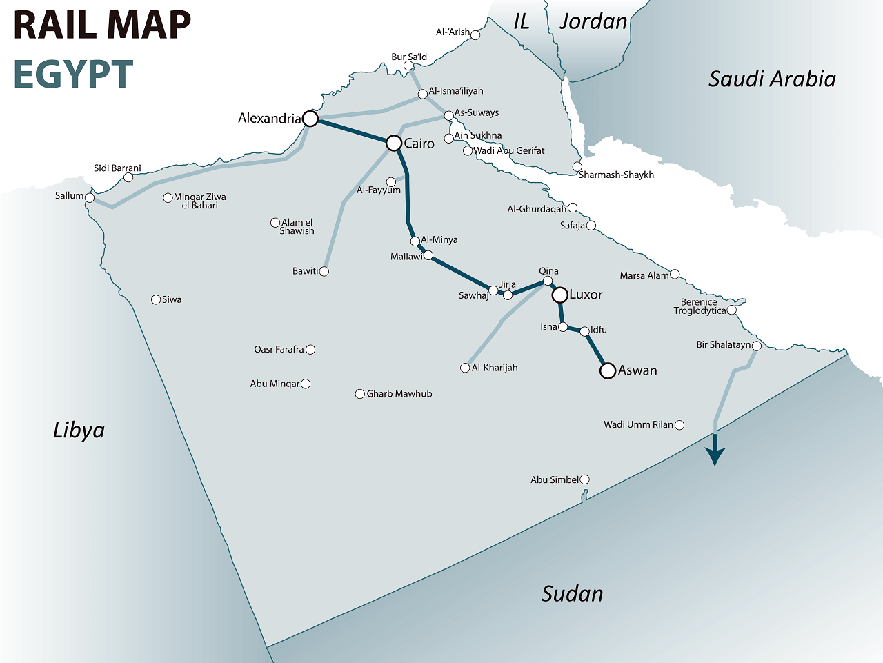 Egypt rail map