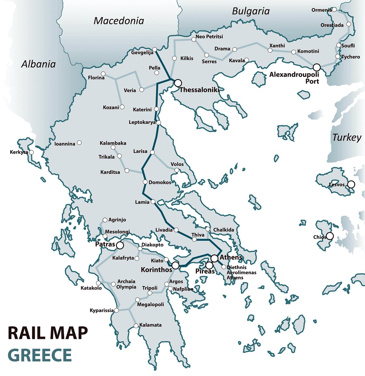 Greece rail map