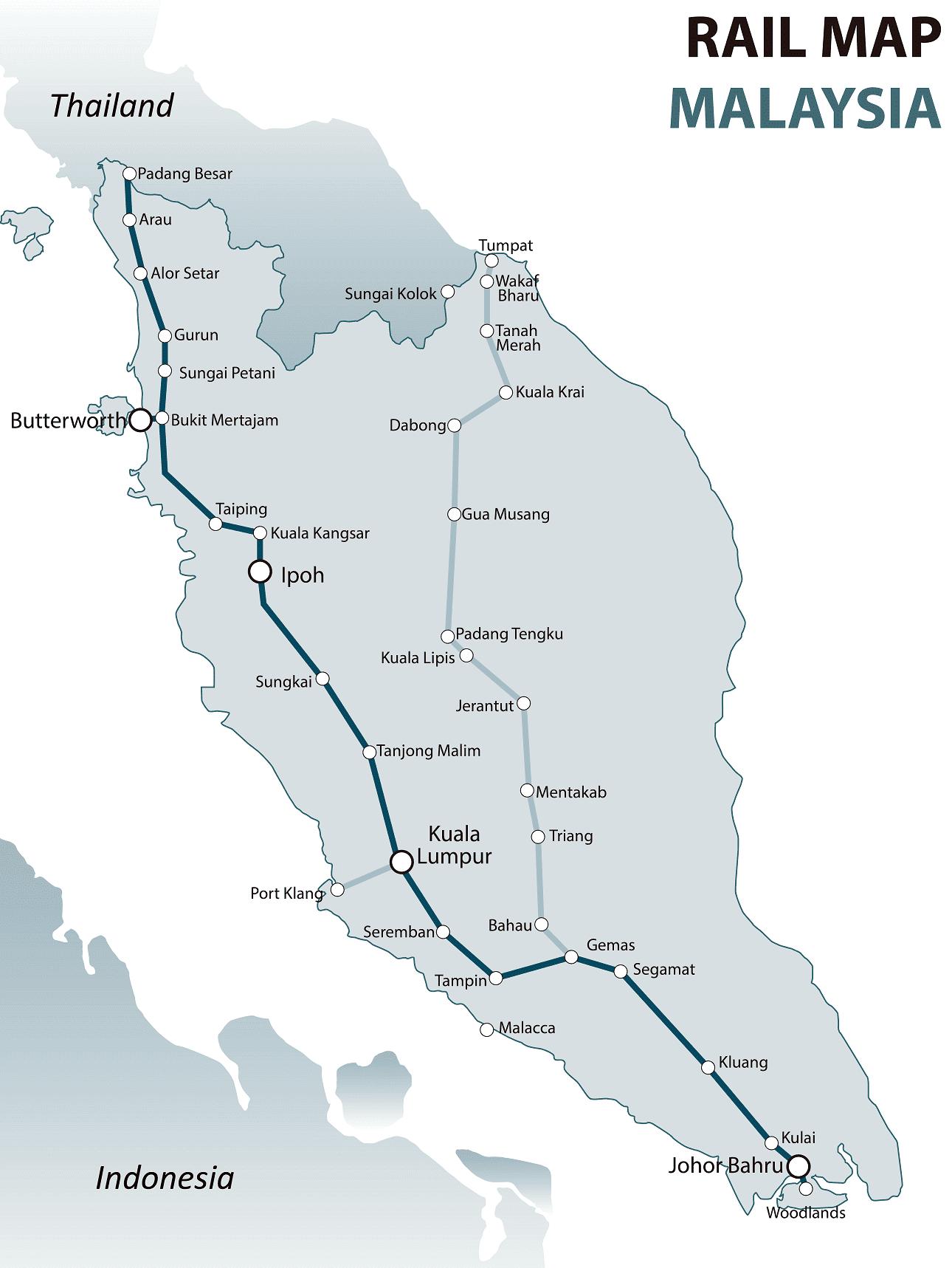 Malaysia rail map