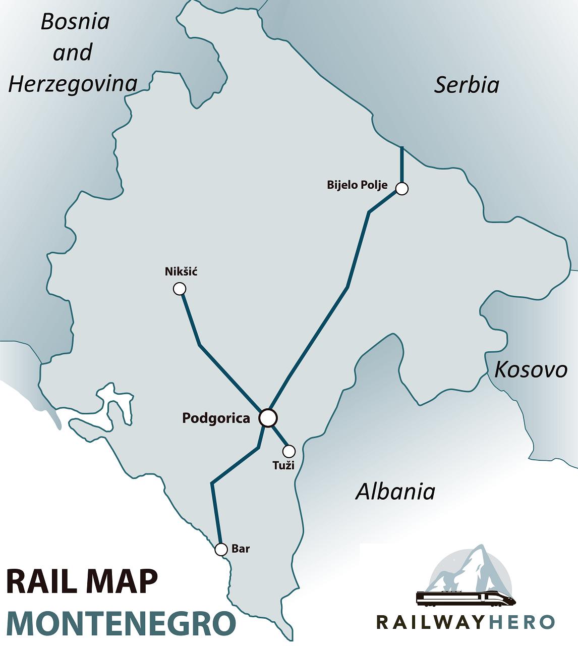 Montenegro rail map