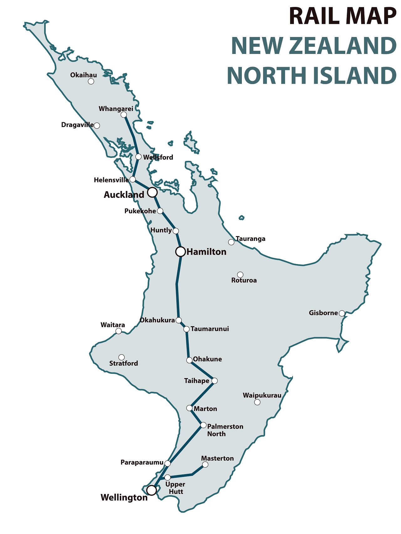 New Zealand north island rail map