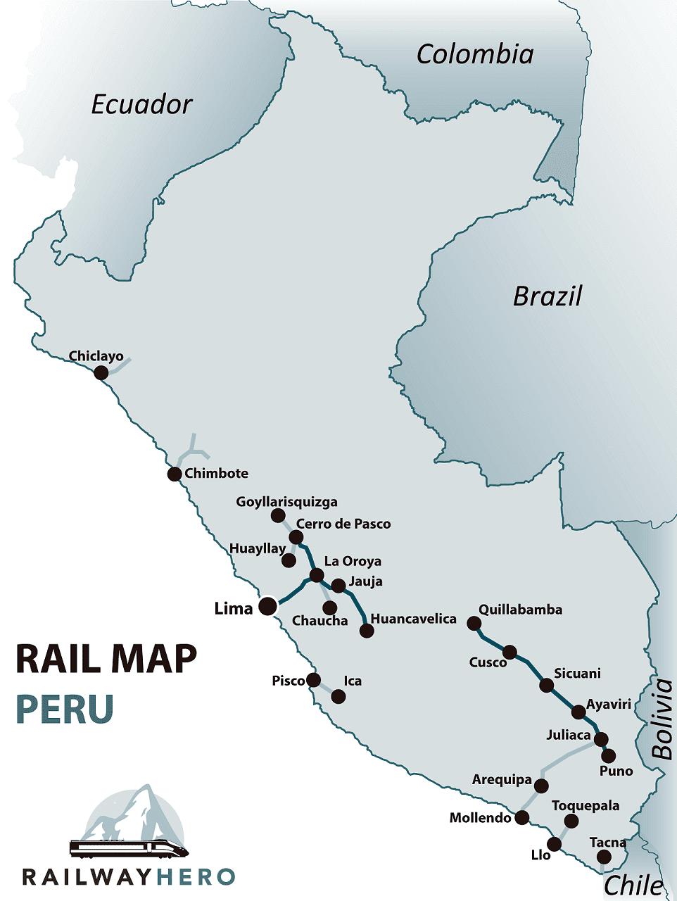 Peru rail map