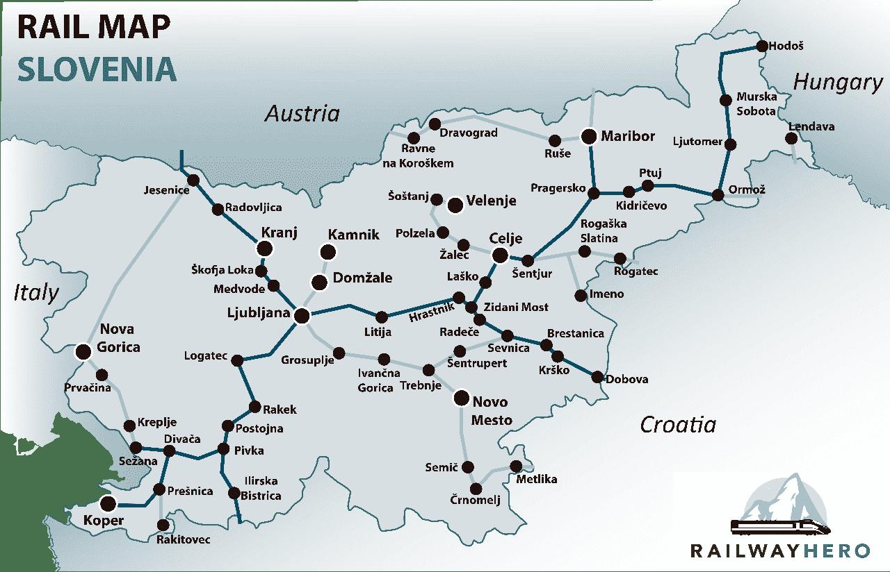 Slovenia rail map